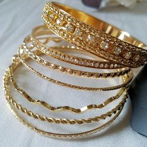 NTW Gold - Toned Fashion Bracelet Set of 7
